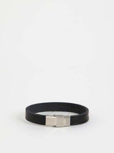 Černý kožený náramek OJJU