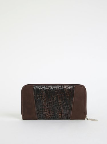 Hnědá dámská kožená peněženka s hadím vzorem OJJU