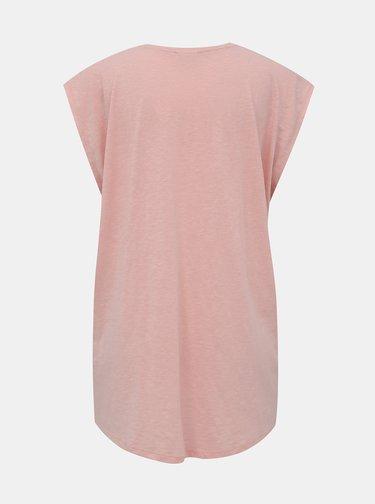 Světle růžové volné basic tričko Noisy May Mathilde