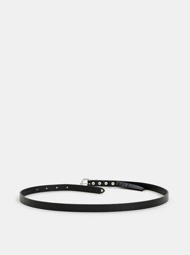 Černý kožený pásek Pieces Jessi