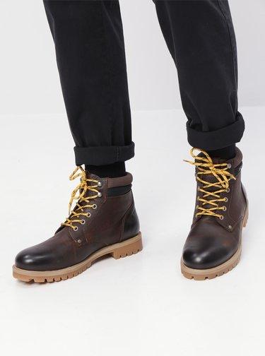 Tmavě hnědé kožené kotníkové boty Jack & Jones Statton