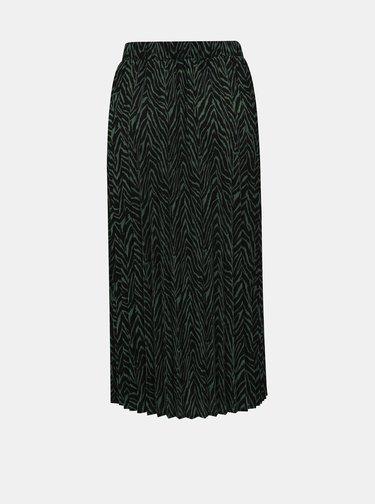 Čierno-zelená plisovaná midi sukňa so zebrím vzorom VERO MODA Ebony