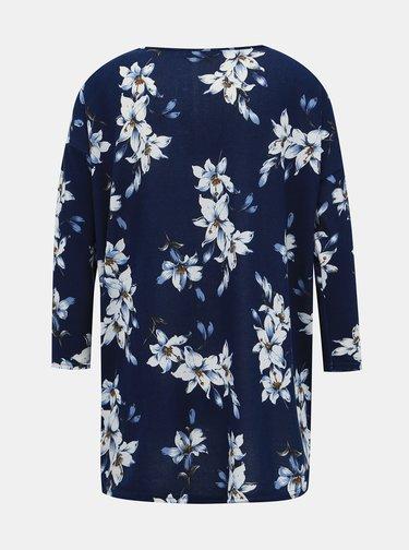 Modrý kvetovaný voľný sveter Only Elcos