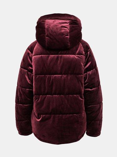 Vínová sametová zimní bunda ONLY New Paula