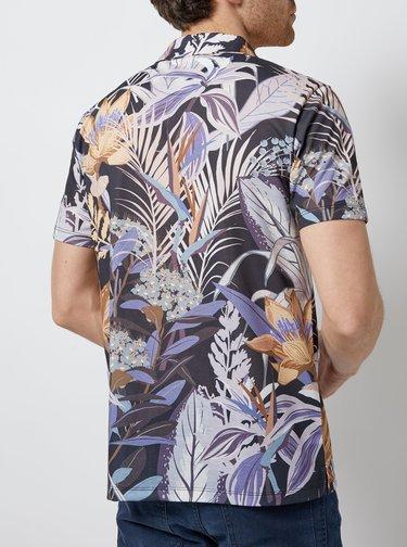 Fialovo-šedá kvetovaná košeľa Burton Menswear London