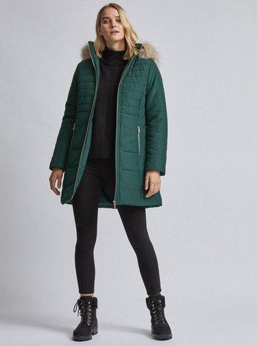 Tmavě zelený prošívaný zimní kabát Dorothy Perkins