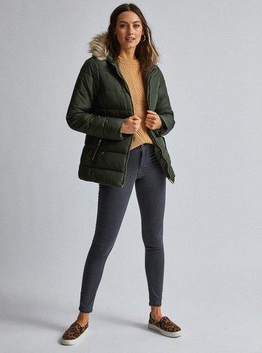 Tmavě zelená prošívaná zimní bunda Dorothy Perkins