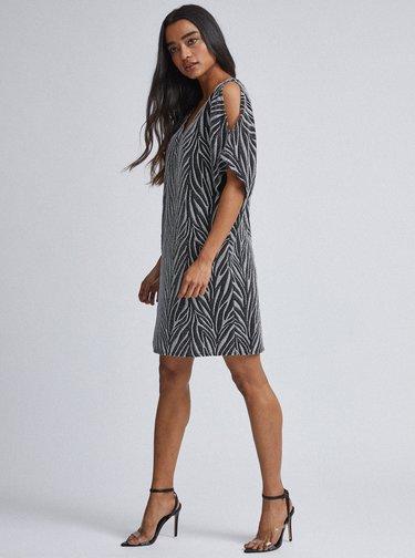 Vzorované třpytivé šaty v černé a stříbrné barvě Billie & Blossom Petite