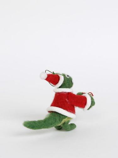 Zelená vánoční dekorace ve tvaru dinosaura Sass & Belle Santasaurus