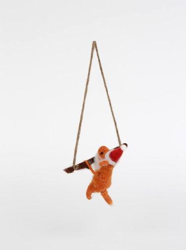 Oranžová vánoční dekorace ve tvaru lišky Sass & Belle Festive Fox