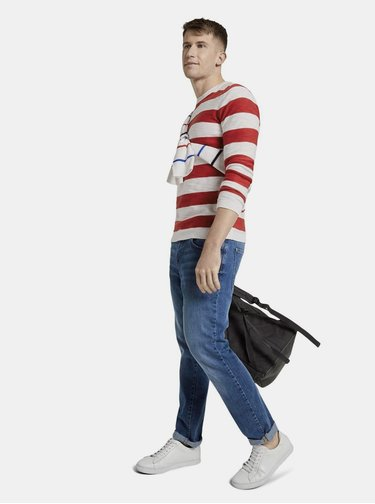 Červeno-biely pánsky pruhovaný basic sveter Tom Tailor Denim