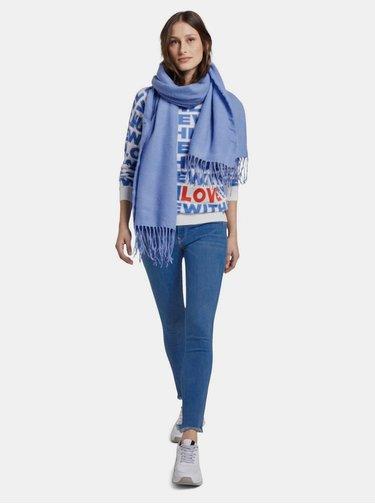 Bielo-modrý vzorovaný sveter Tom Tailor Denim