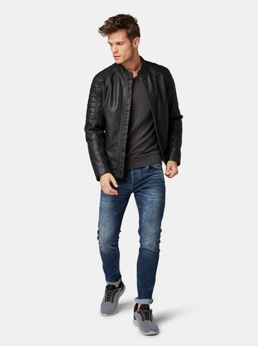 Tmavě šedý pánský basic svetr Tom Tailor Denim