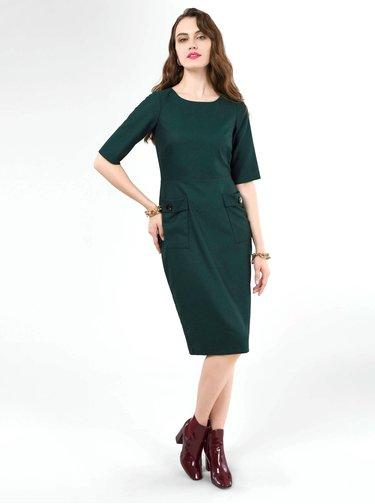 Tmavozelené púzdrové šaty Closet