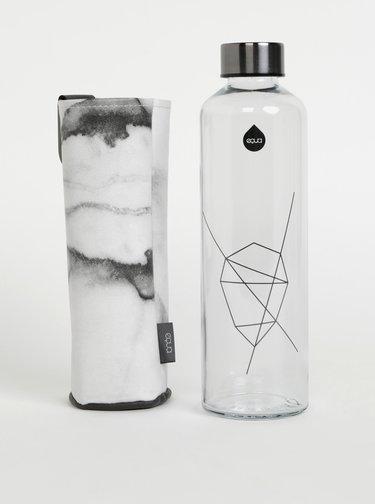 Skleněná láhev na vodu ve světle šedém obalu EQUA Mismatch Stone