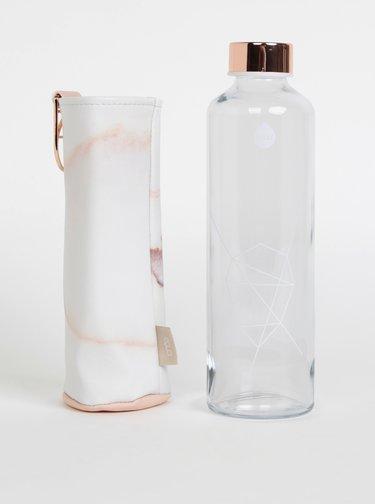 Skleněná láhev na vodu v růžovo-bílém obalu EQUA Mismatch Lava
