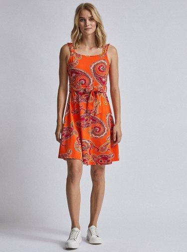 Oranžové vzorované šaty Dorothy Perkins