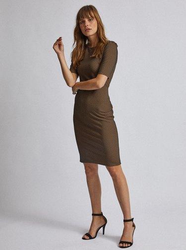Černo-hnědé vzorované pouzdrové šaty Dorothy Perkins