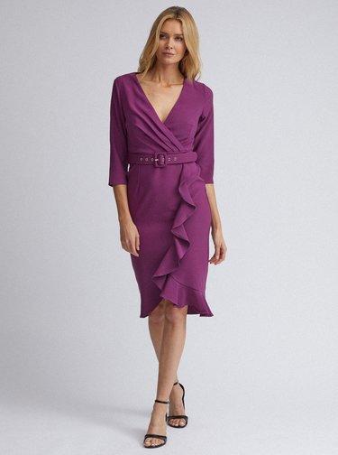 Fialové pouzdrové šaty s volánem Dorothy Perkins
