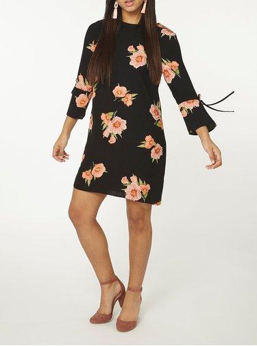 Čierne kvetované šaty s mašľami na rukávoch Dorothy Perkins