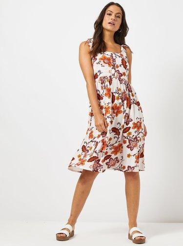 Krémové květované šaty na ramínka Dorothy Perkins Petite