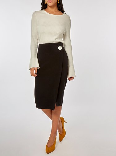 Čierna puzdrová sukňa s ozdobným gombíkom Dorothy Perkins