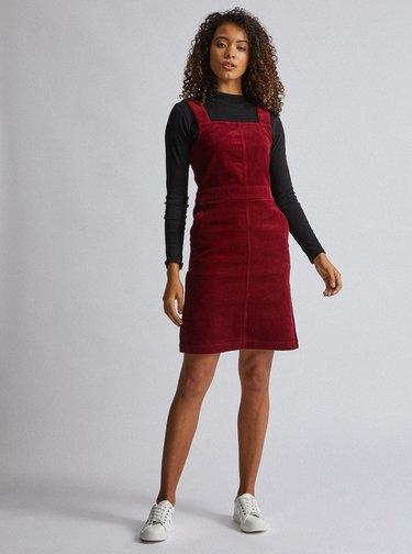 Vínové manšestrové šaty Dorothy Perkins Tall