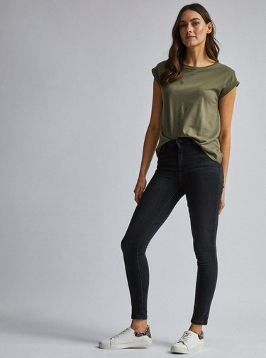 Tmavošedé skinny fit rifle Dorothy Perkins