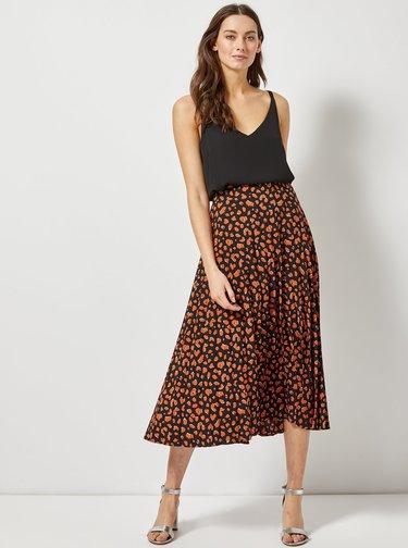 Oranžovo–čierna plisovaná midisukňa s leopardím vzorom Dorothy Perkins