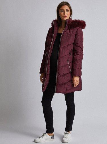 Vínový těhotenský zimní kabát Dorothy Perkins Maternity