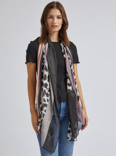 Růžovo-černý šátek s leopardím vzorem Dorothy Perkins