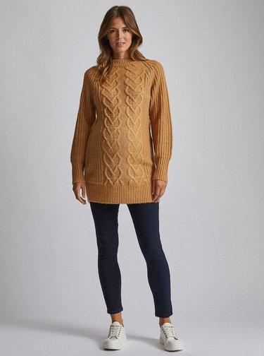 Béžový tehotenský dlhý sveter Dorothy Perkins Maternity