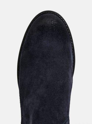 Tmavomodré dámske semišové chelsea topánky Tommy Hilfiger Corporate