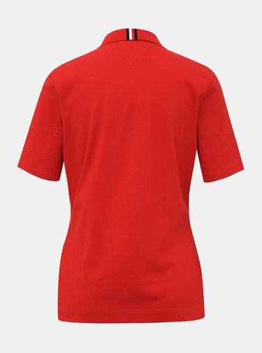 Červená dámska basic polokošeľa Tommy Hilfiger
