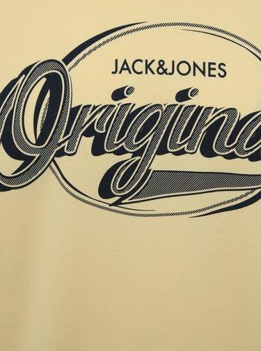 Žluté tričko s potiskem Jack & Jones Brad