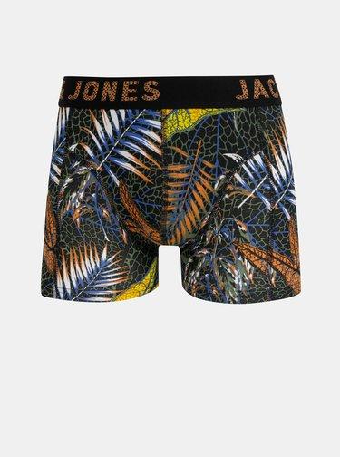 Sada troch vzorovaných boxeriek v modrej, žltej a čiernej farbe Jack & Jones Cleaves