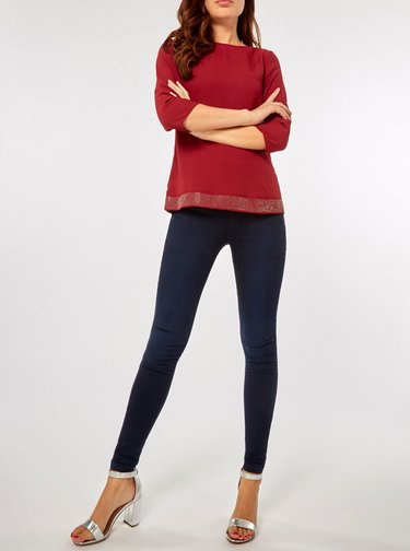 Bluza bordo cu maneci 3/4 si pietre decorative Dorothy Perkins