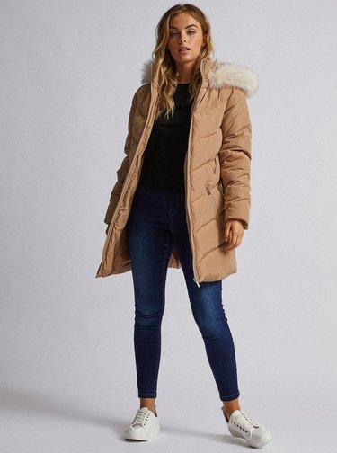 Béžový prošívaný zimní kabát Dorothy Perkins Petite