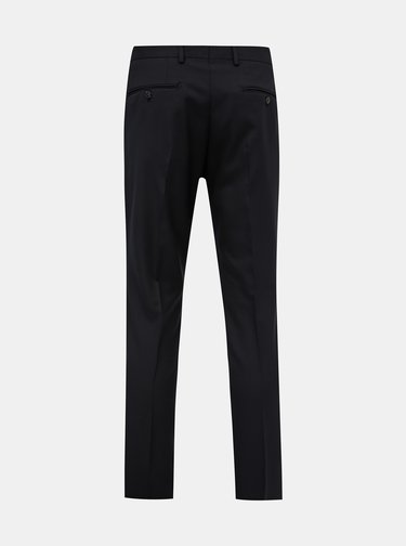 Čierne oblekové slim fit nohavice s prímesou vlny Jack & Jones Solaris