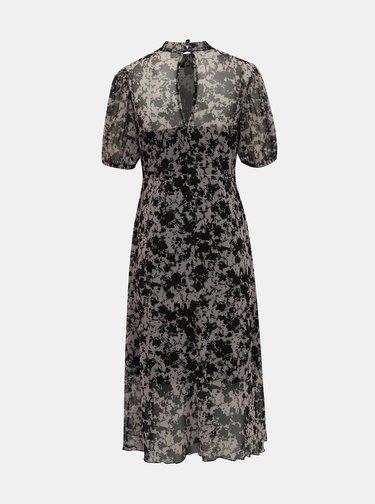 Čierno-šedé vzorované midišaty Miss Selfridge