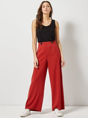 Pantaloni largi rosii cu talie inalta Dorothy Perkins