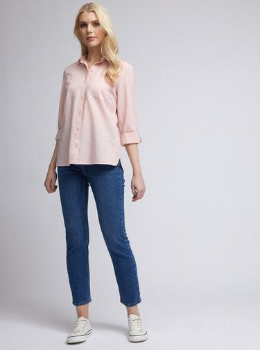 Rúžová košeľa s prímesou ľanu Dorothy Perkins