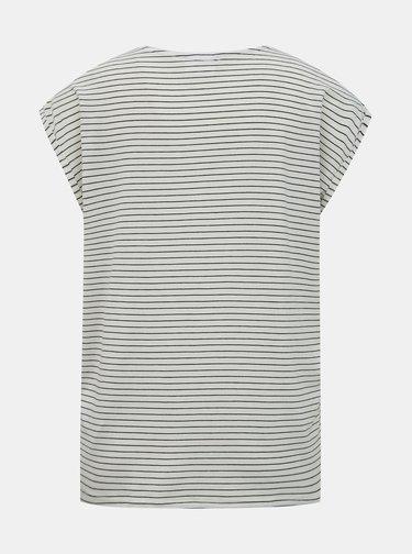 Krémové pruhované basic tričko AWARE by VERO MODA Ava