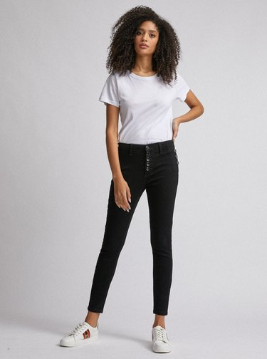 Černé zkrácené skinny fit džíny Dorothy Perkins Darcy