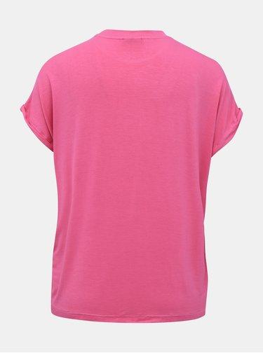 Rúžové basic tričko Noisy May Nola