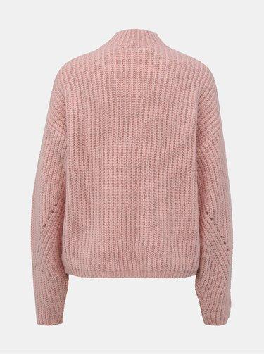 Světle růžový svetr s příměsí vlny Noisy May Cristin