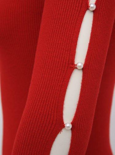 Červené pouzdrové svetrové šaty TALLY WEiJL Delta