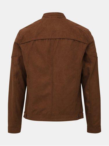 Hnedá bunda v semišovej úprave Jack & Jones Rocky