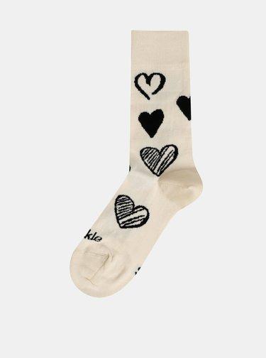 Krémovo-černé vzorované ponožky Fusakle Symbol