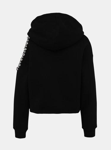 Černá mikina s ozdobnými detaily a průstřihem na rameni TALLY WEiJL Mira